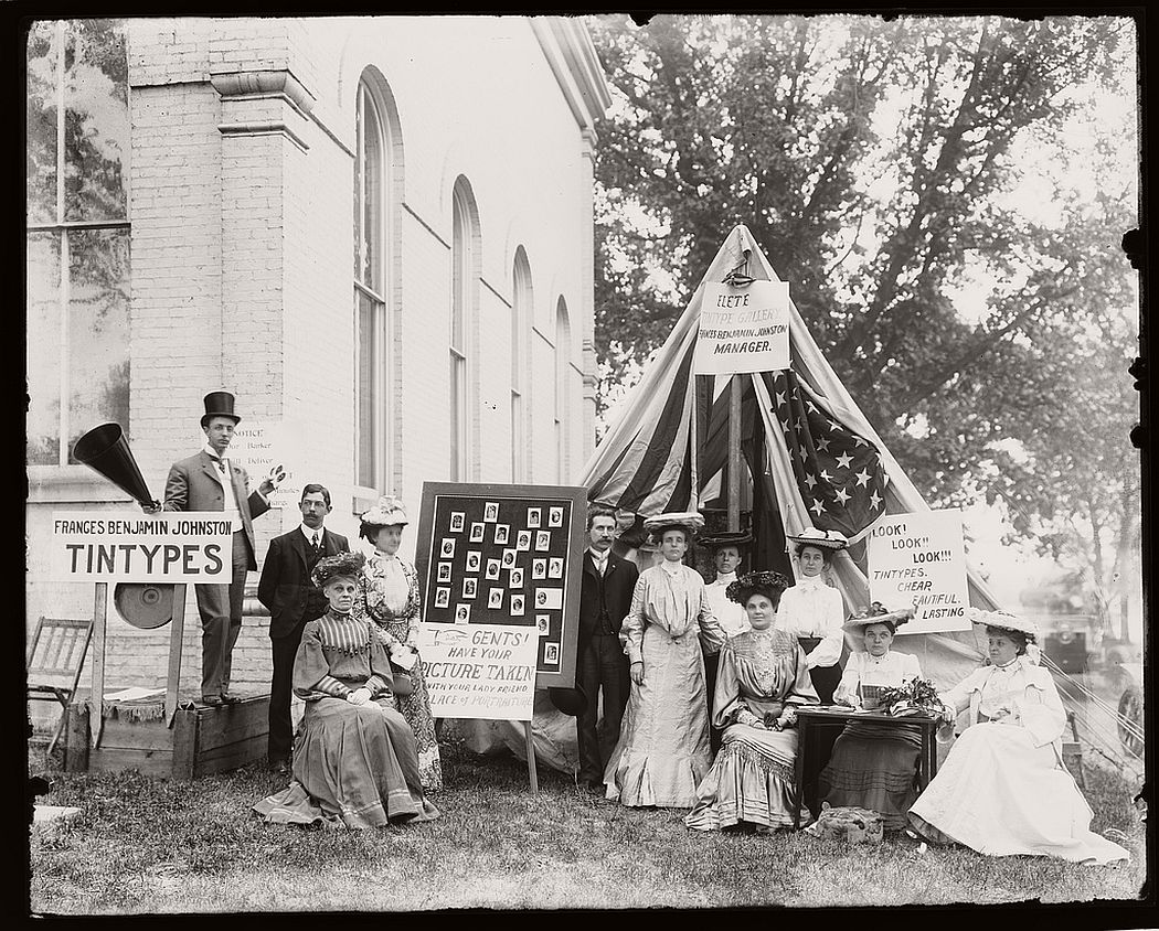 County fair, tintype booth of Miss. F.B. Johnston, May 1903.