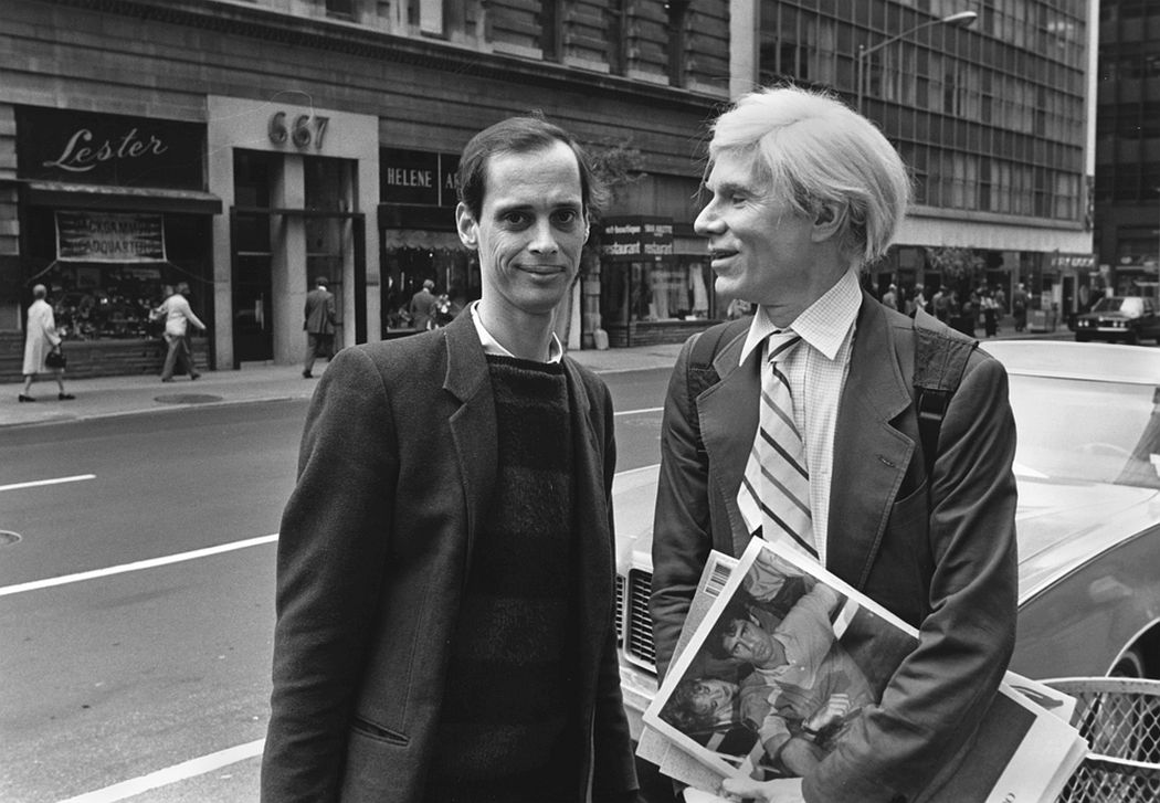Chance meeting between Andy Warhol and John Waters on Madison Avenue, (1981). Photo: Robert Levin.