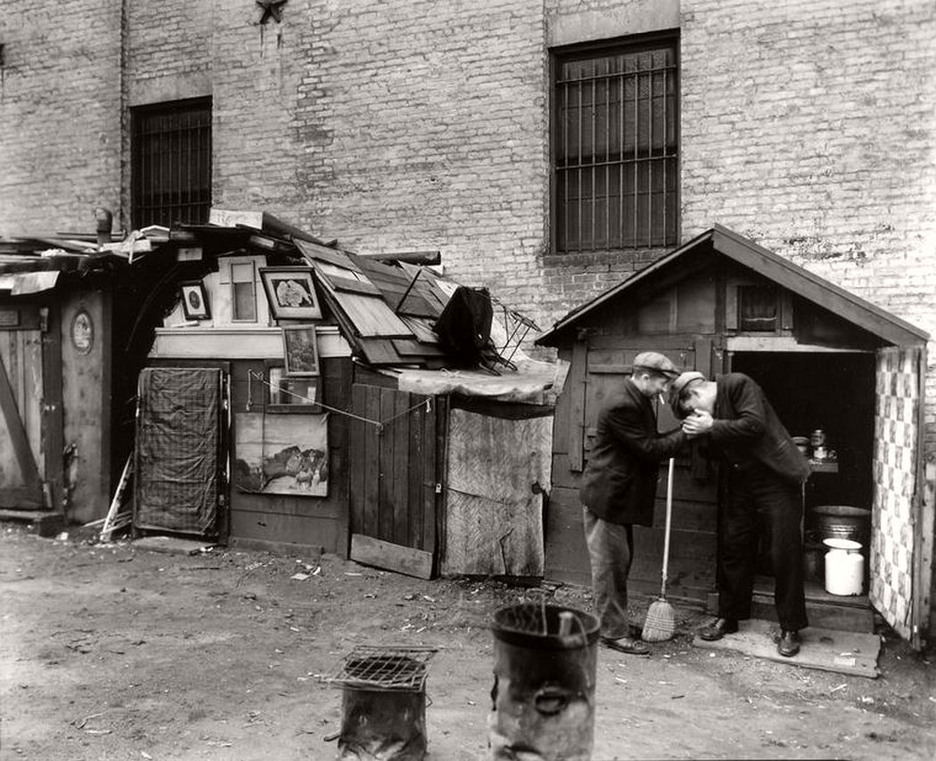 Huts and unemployed, West Houston and Mercer Street, October 25, 1935