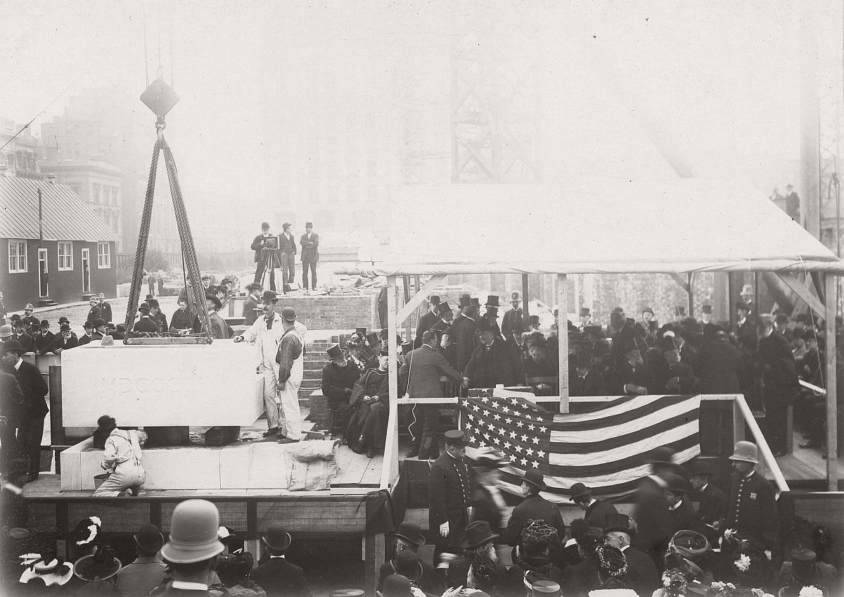 The cornerstone ceremony for the central building of the New York Public Library, 1902. Photograph: New York Public Library