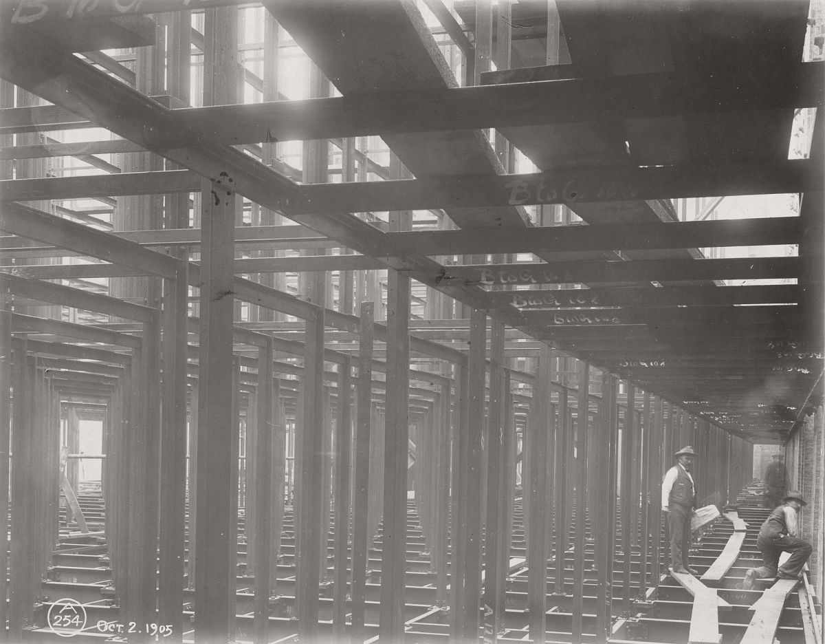 The structural framework of the central building of the New York Public Library, 1905. Photograph: New York Public Library