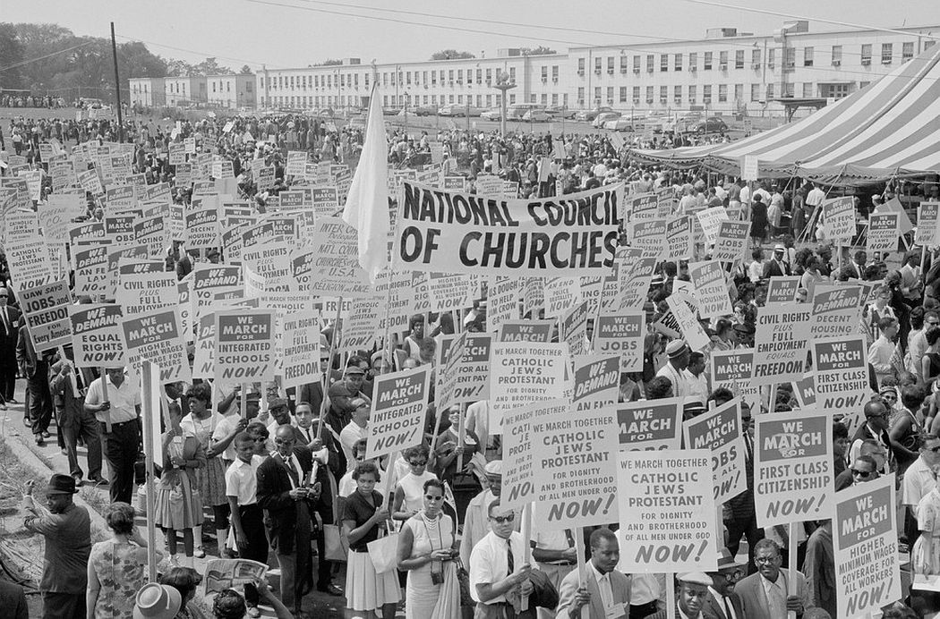 Marchers, signs, and a tent during the civil rights march on Washington D.C., August 28, 1963. (Photo by Reuters/Library of Congress)