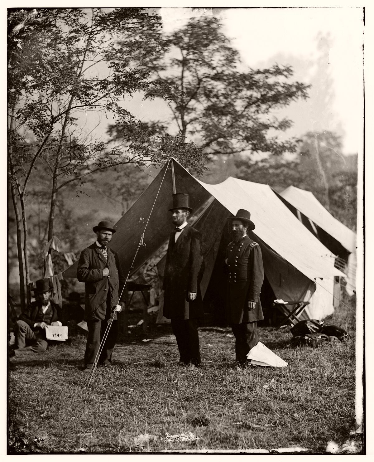 Abraham Lincoln, Allan Pinkerton and John Alexander McClernand, visiting the Antietam battlefield, 1862.