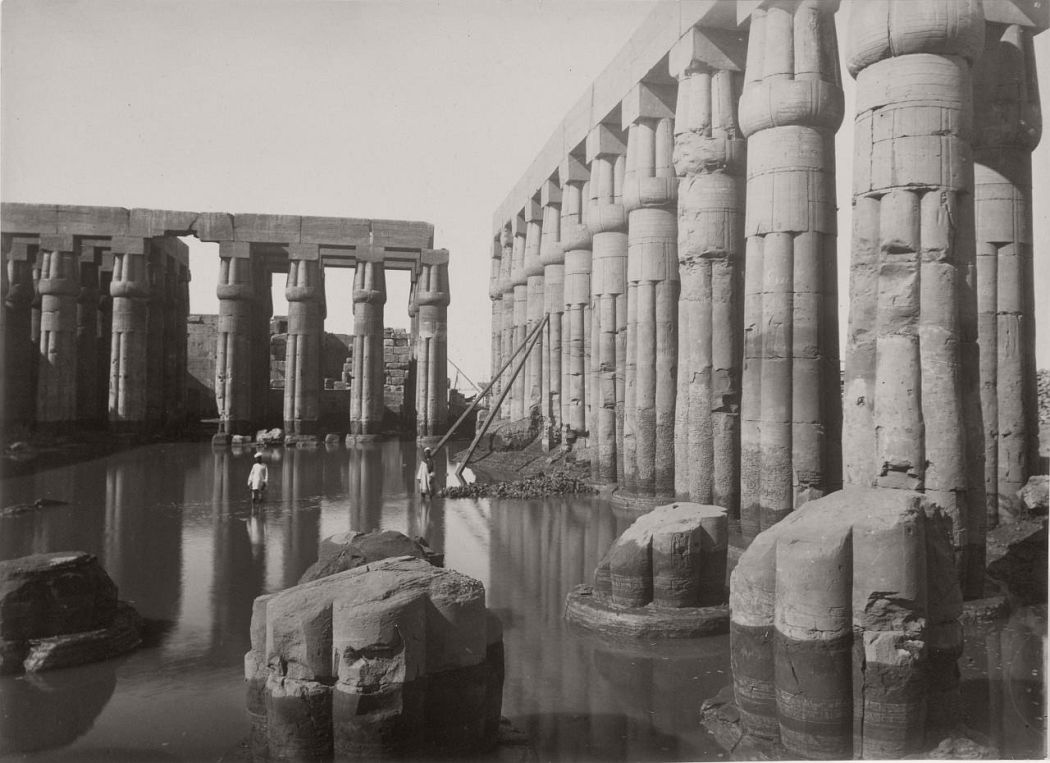 The Flooded Courtyard of Amenhotep III in the Luxor Temple, ca. 1875