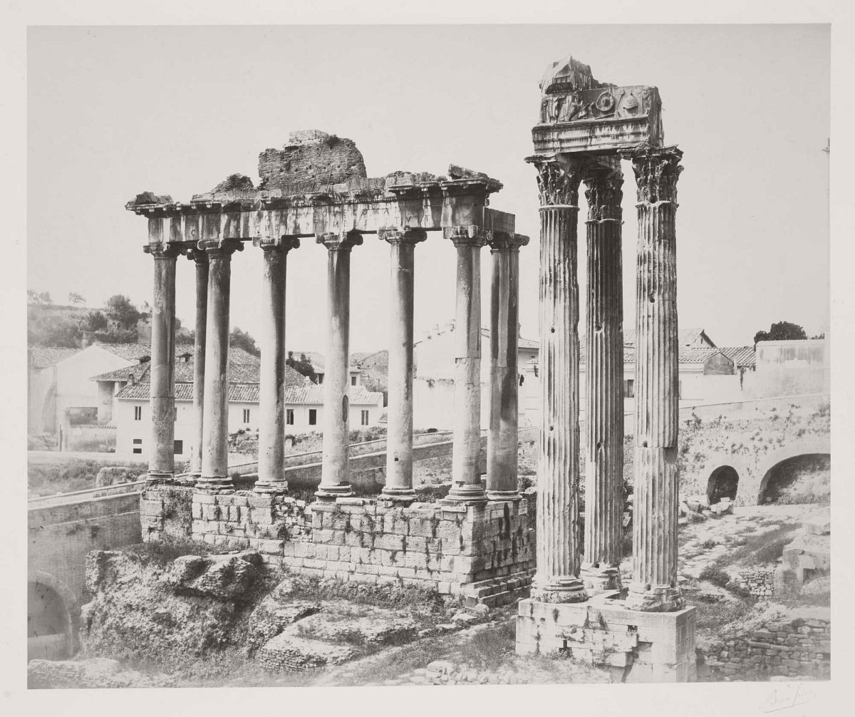 Temple of Saturn and Temple of Vespasian, Rome, 1860s.