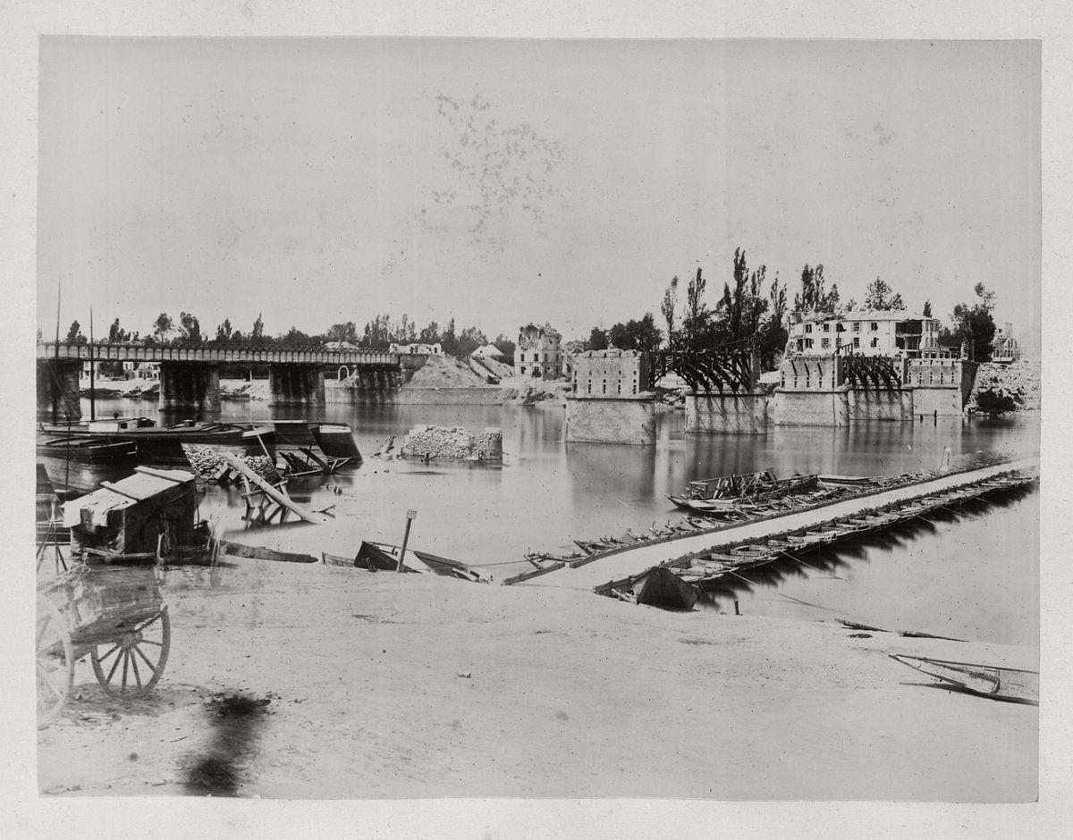 Asnières. Pontoon Bridge, 1871.