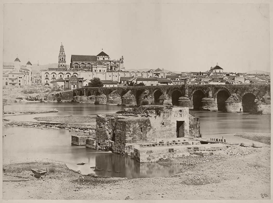 Roman bridge and Arab mills, Cordoba, looking towards Mosque across Guadalquivir River, 1862