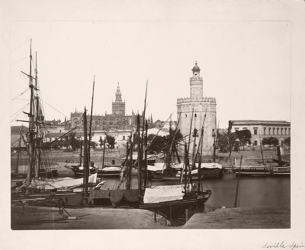 Cathedral, Torre del Oro and Guadalquivir River, Seville, 1862