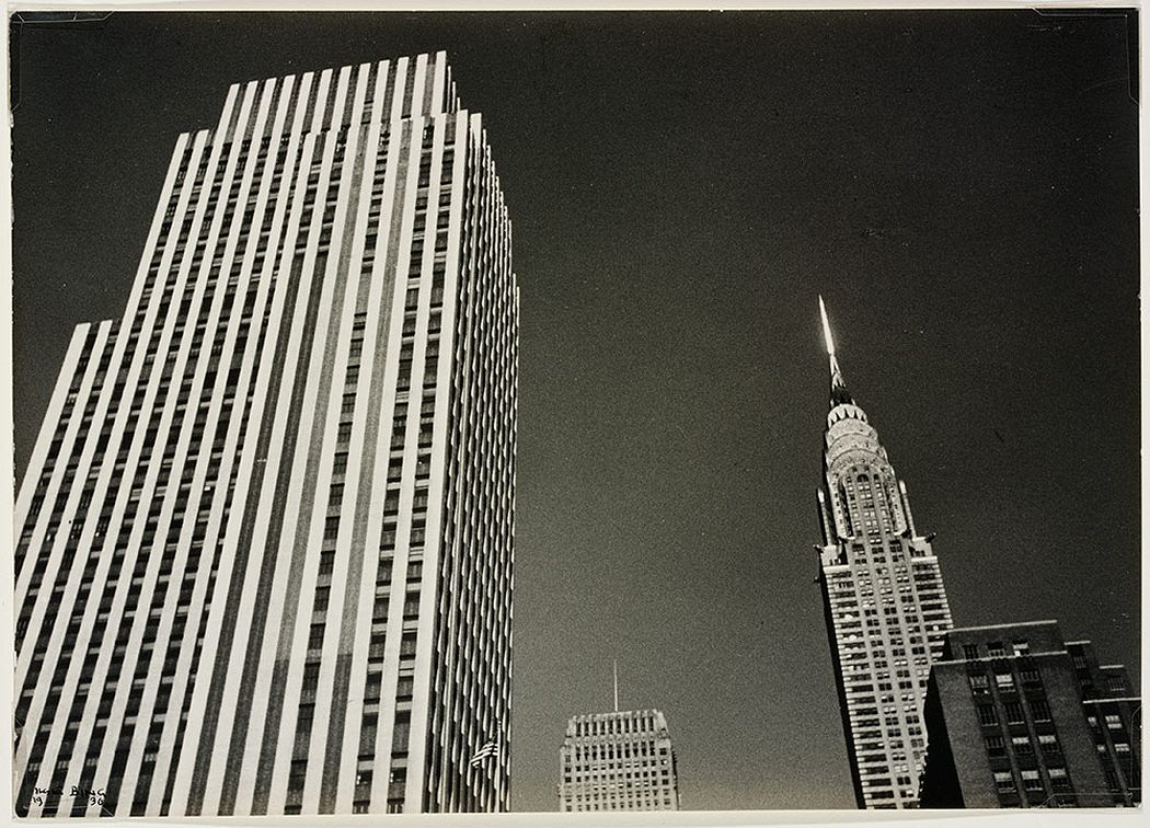 [Rockefeller Center or Daily Mirror and Chrysler Building tops], 1936 © Victoria and Albert Museum, London/Estate of Ilse Bing, courtesy Michael Mattis