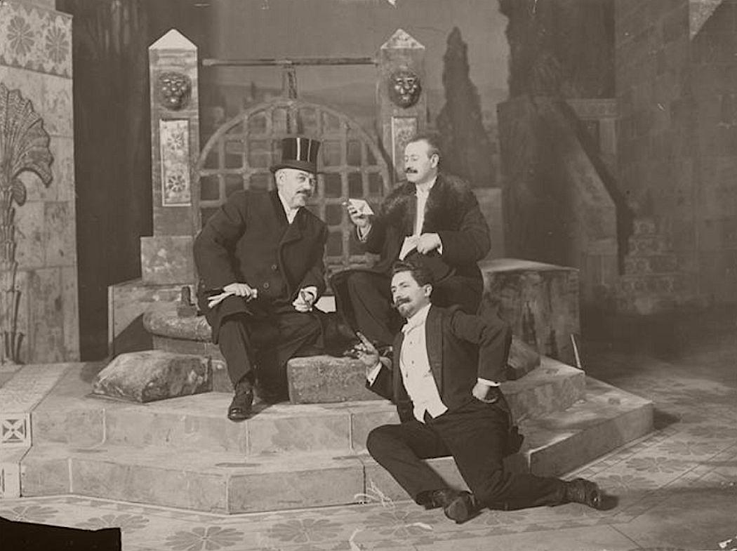 Oscar Hammerstein (left) at Manhattan Opera House, which opened December 3, 1906