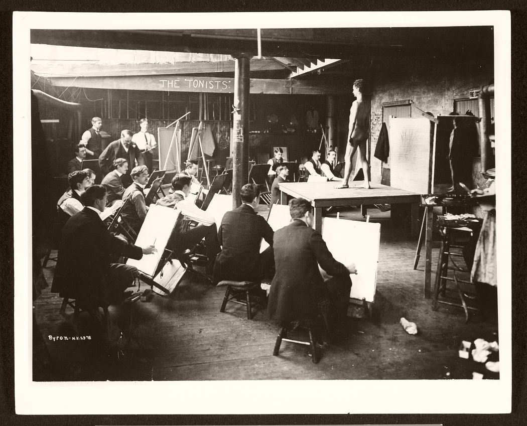A men's art class. Instructor William Merritt Chase is pictured in the photo. Photographed by Byron