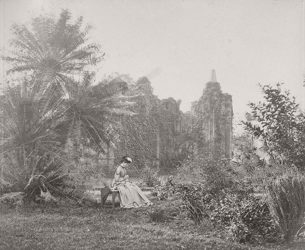 Gothic ruin with creepers in Barrackpore Park, 1865.