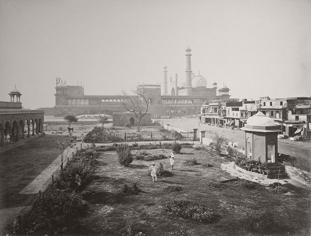 A distant view of the Jami Masjid, Delhi, taken by Samuel Bourne in the 1860s.
