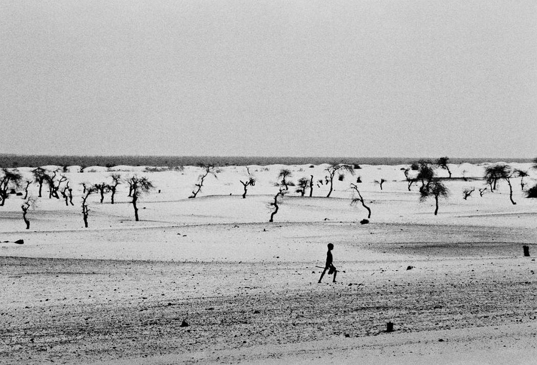 This used to be the large Lake Faguibine. It dried up little by little with the drought and invasion of the desert. All the men have gone, only the children, the elderly and women remain, Mali 1985