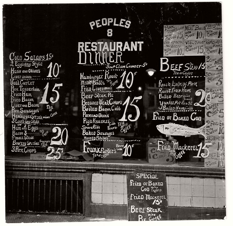EVANS, Walker (1903-1975), Lunchroom Window on the Bowery, People's Restaurant,  New York City, 1933-1934