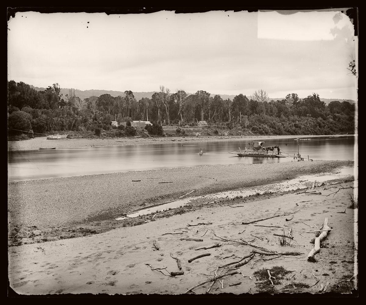 Manawatu River ford at bottom of gorge, 1878.