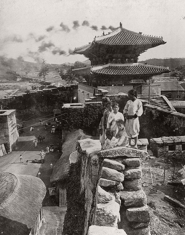 Kids on the City Wall, Seoul, 1904