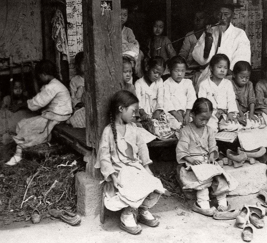 Public school with a holding cell under the floor reserved for kids, Seoul, 1903