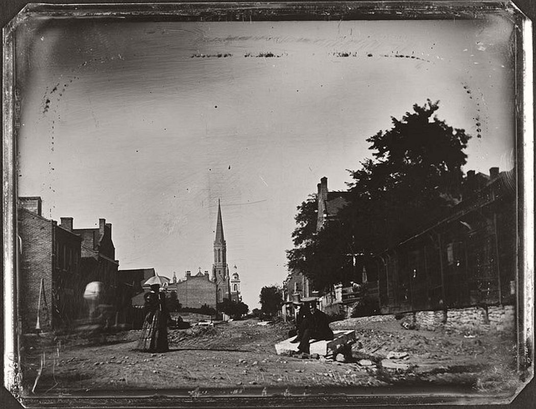 Ninth Street looking north from Chestnut, 1852