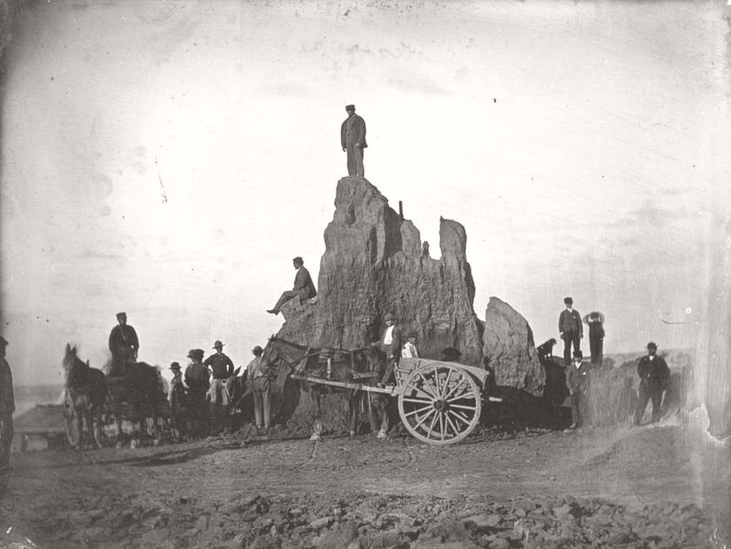 Big Mound during destruction, 1869