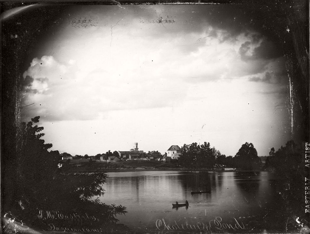 Chouteau's Pond, view south from 8th and Clark Streets, 1850