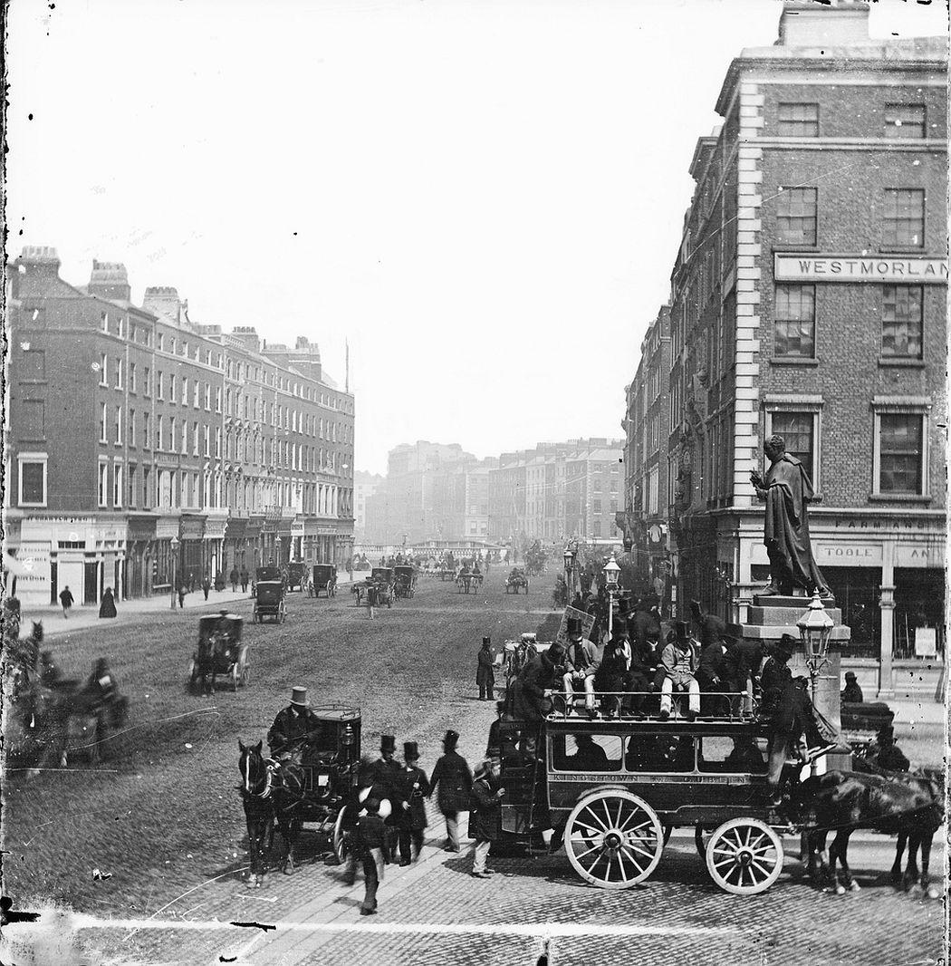 Horse-drawn omnibus on Westmoreland Street, Dublin, ca. 1865