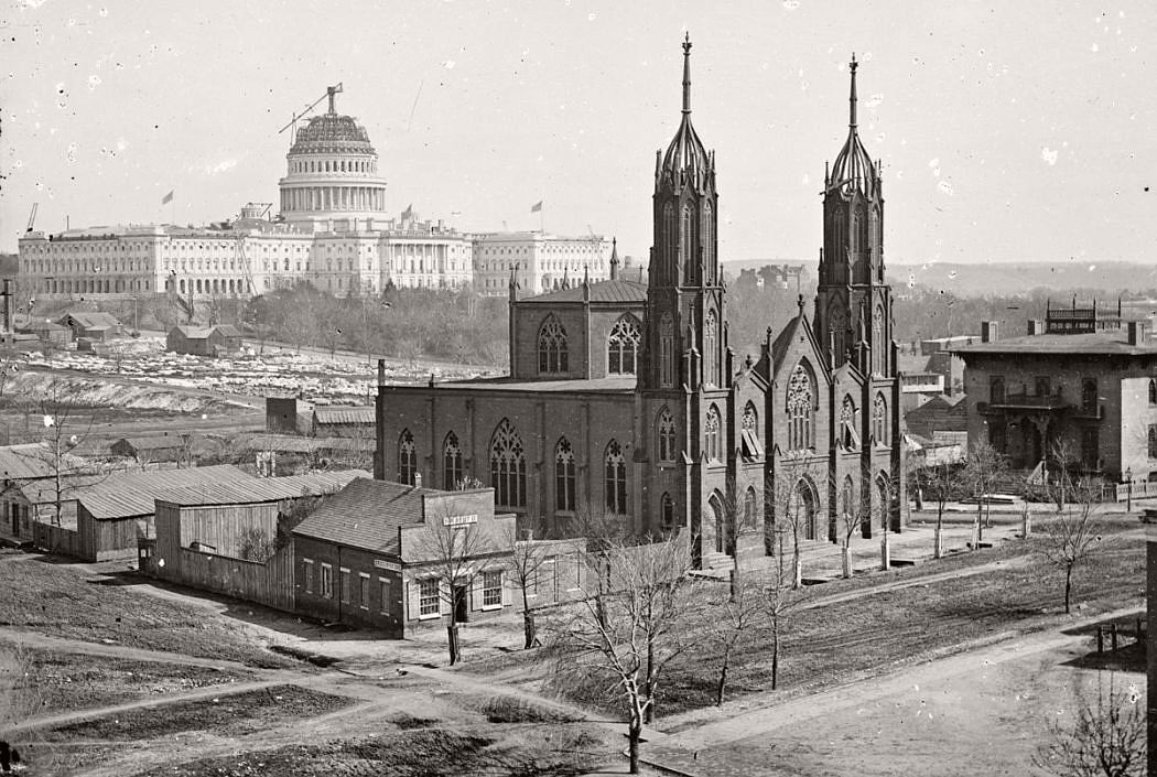 During the Civil War, Capital dome not finished, Washington DC,1863