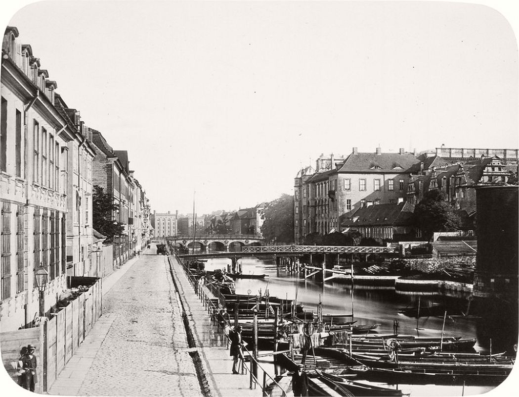 Burgstraße and Lange Brücke with view towards the Royal Castle, around 1856
