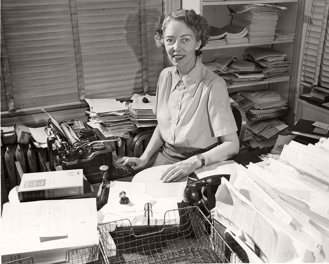 Medical writer and chemist Jane Stafford (1899-1991) in her office
