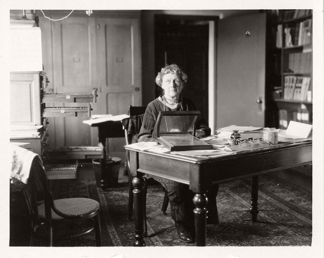 Astronomer Annie Jump Cannon (1863-1941) sitting at desk