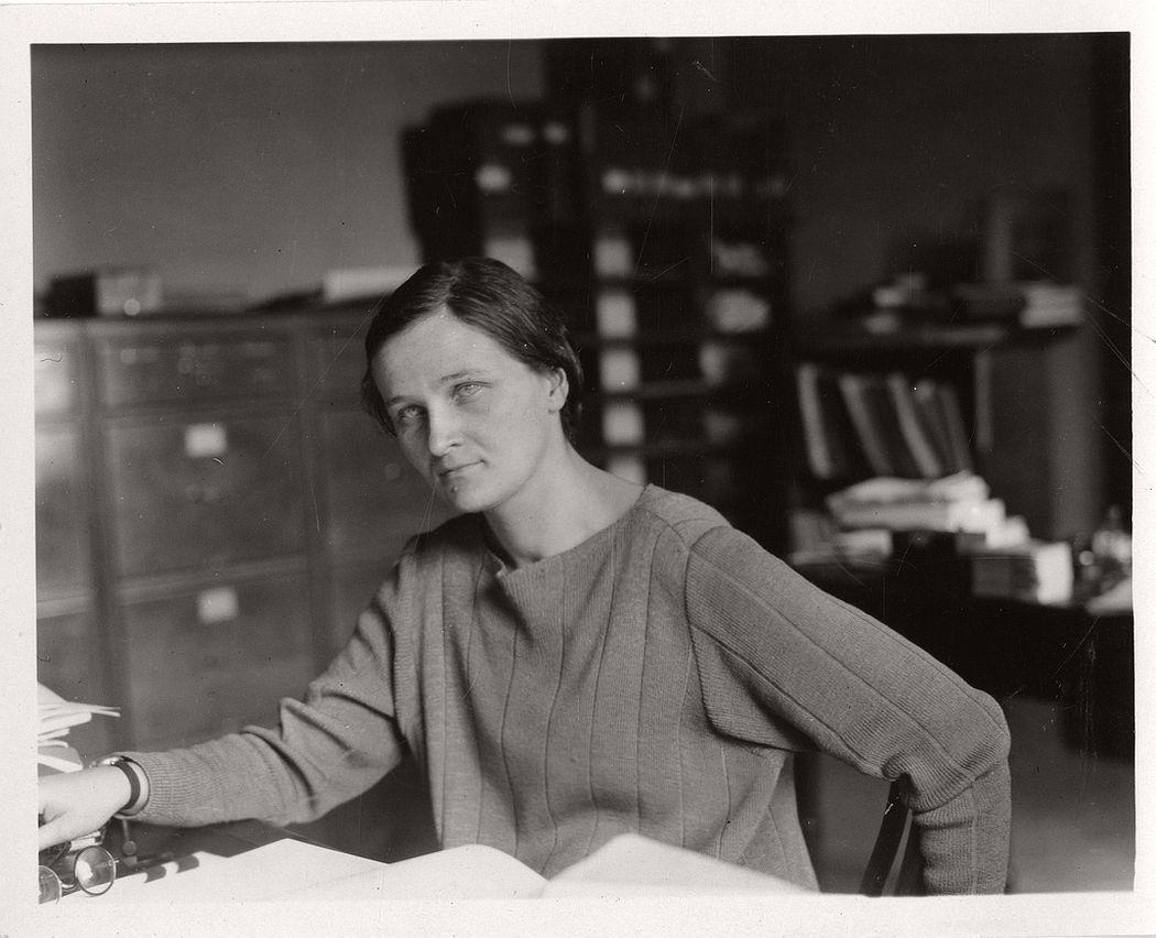 Astronomer Cecilia Helena Payne Gaposchkin (1900-1979) in her office