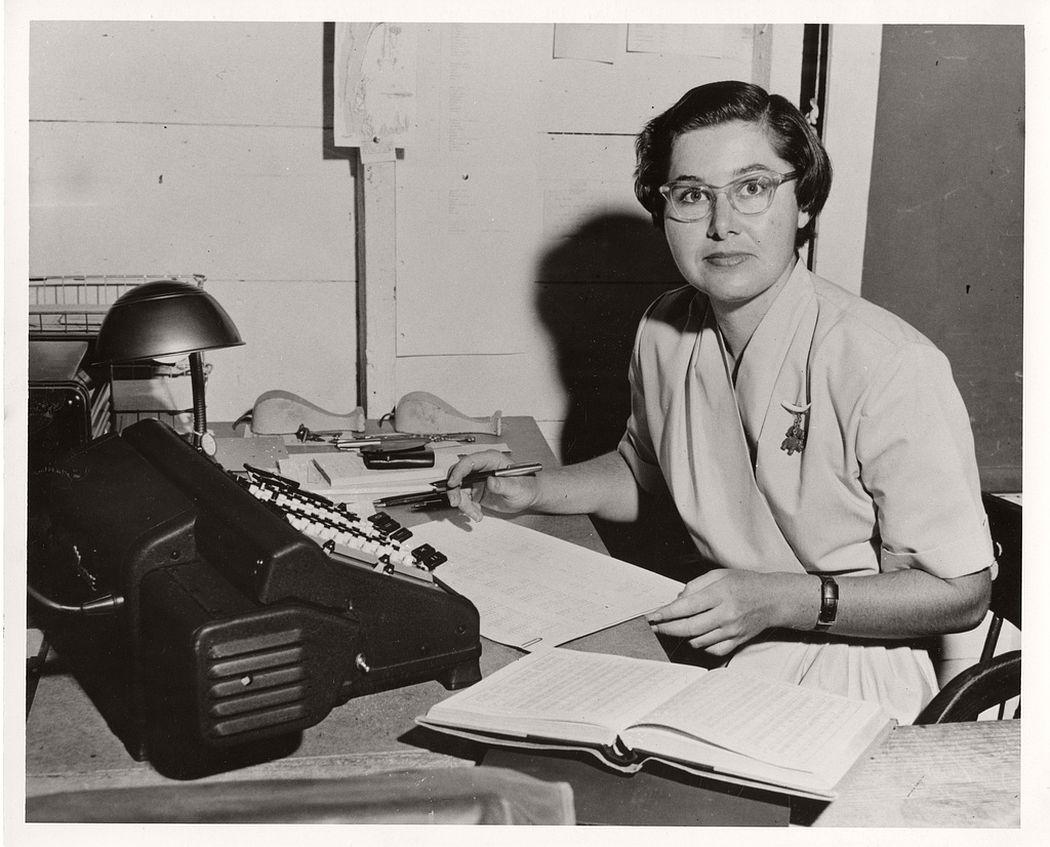 Astronomer Elizabeth Roemer at her desk at the U.S. Naval Observatory, Flagstaff (Arizona) Station, 1963