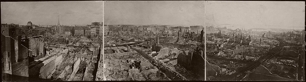 Photographic panorama of the 'Burnt District' of Boston, after the Great Fire, November 9, 10, 1872