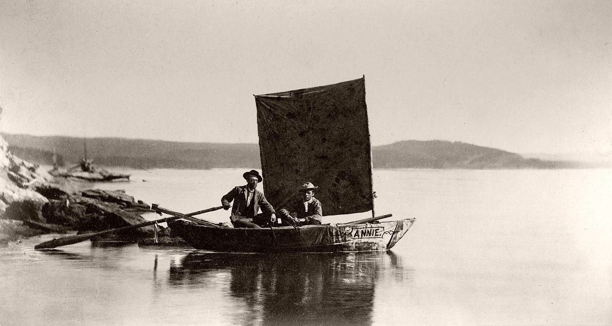 The Annie, reportedly the first boat ever launched on Yellowstone Lake, 1871. (Smith Collection/Gado/Getty Images)
