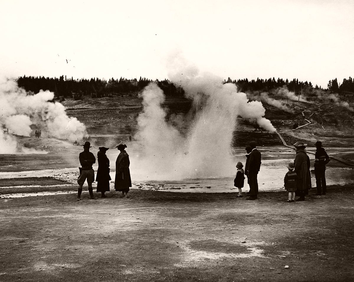 The Geyser Basins at Yellowstone, c.1900. (George Rinhart/Corbis via Getty Images)