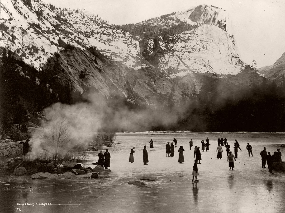 Tourists skate on a frozen lake in Yosemite, c.1910. (Library of Congress/Corbis/VCG via Getty Images)