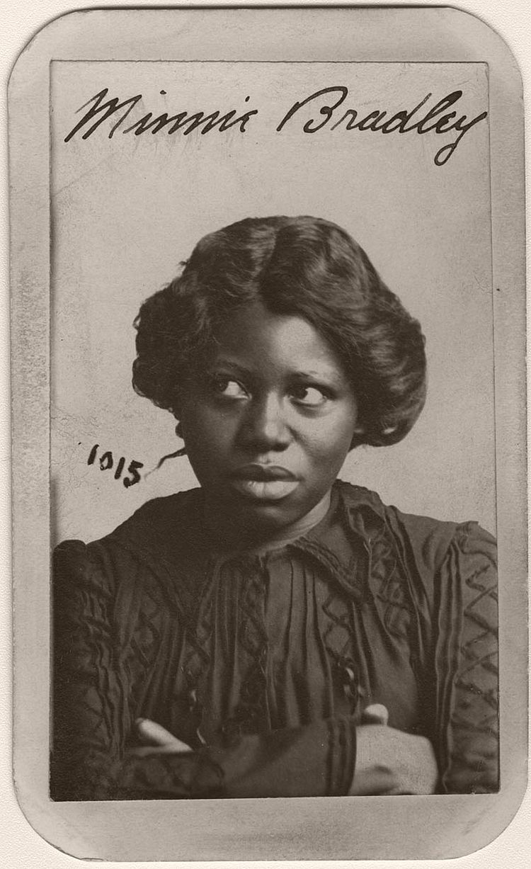 Minnie Bradley refuses to look at the camera in her Omaha Police Court mug shot. Minnie, 27, and 5 foot 2 inches tall was arrested in Omaha on December 13, 1902 for larceny from a person. She listed her residence on north 11th Street in Omaha and her occupation as prostitute. The description also noted that Minnie wore a wig.
