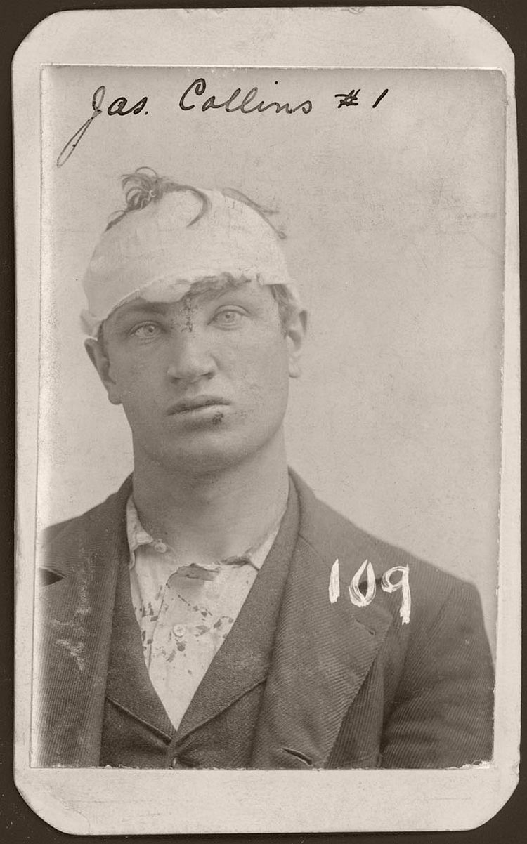 James Collins was arrested in Omaha in May 12, 1897 for burglary. In his mug shot, Collin's head has been bandaged. According to the police record, Collins escaped and was rearrested. The 23 year-old Omaha tailor was sent to the Nebraska State Prison on March 19, 1898, to serve a five-year sentence.