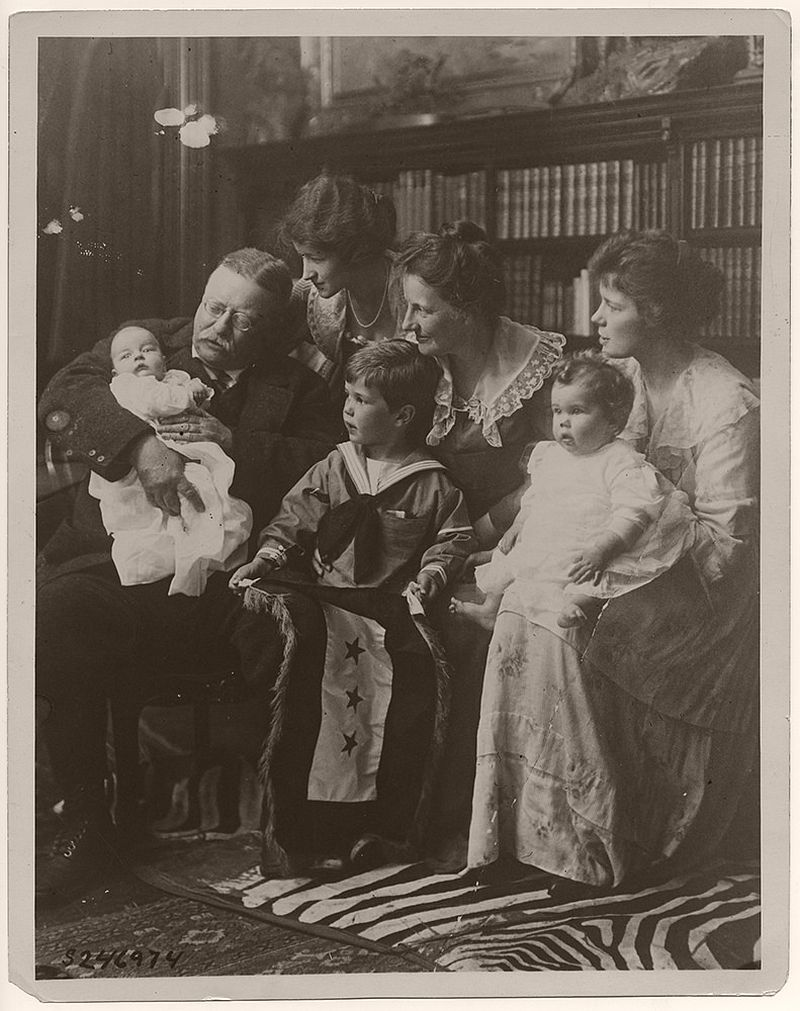 Seated, left to right, are Archibald Bulloch Roosevelt, Jr., Theodore Roosevelt, Grace Stackpole Lockwood Roosevelt, Richard Derby, Jr., Edith Kermit Carow Roosevelt, Edith Roosevelt Derby Williams, and Ethel Carow Roosevelt Derby. Richard Derby Jr. is holding a service flag with three stars. The stars symbolize three of Roosevelt's sons, Quentin, Archie, and Theodore Jr., who served the United States in battle.