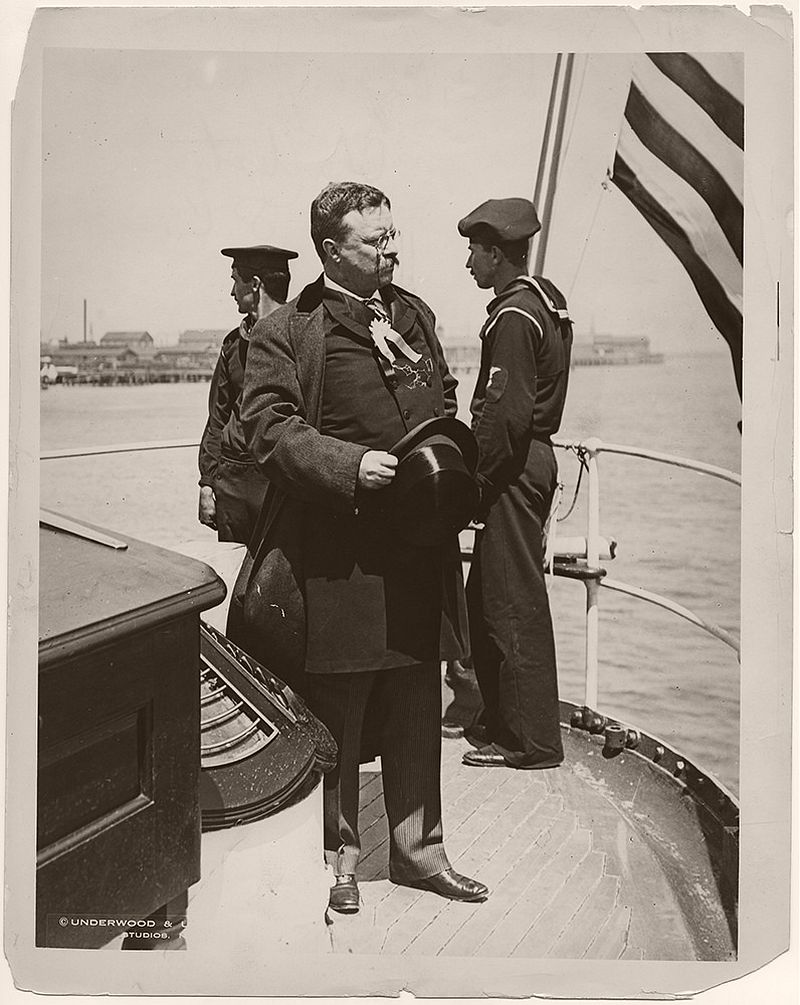 President Theodore Roosevelt Standing on the Stern of the Naval Cutter, USS Algonquin, in Charleston, South Carolina, 1902.