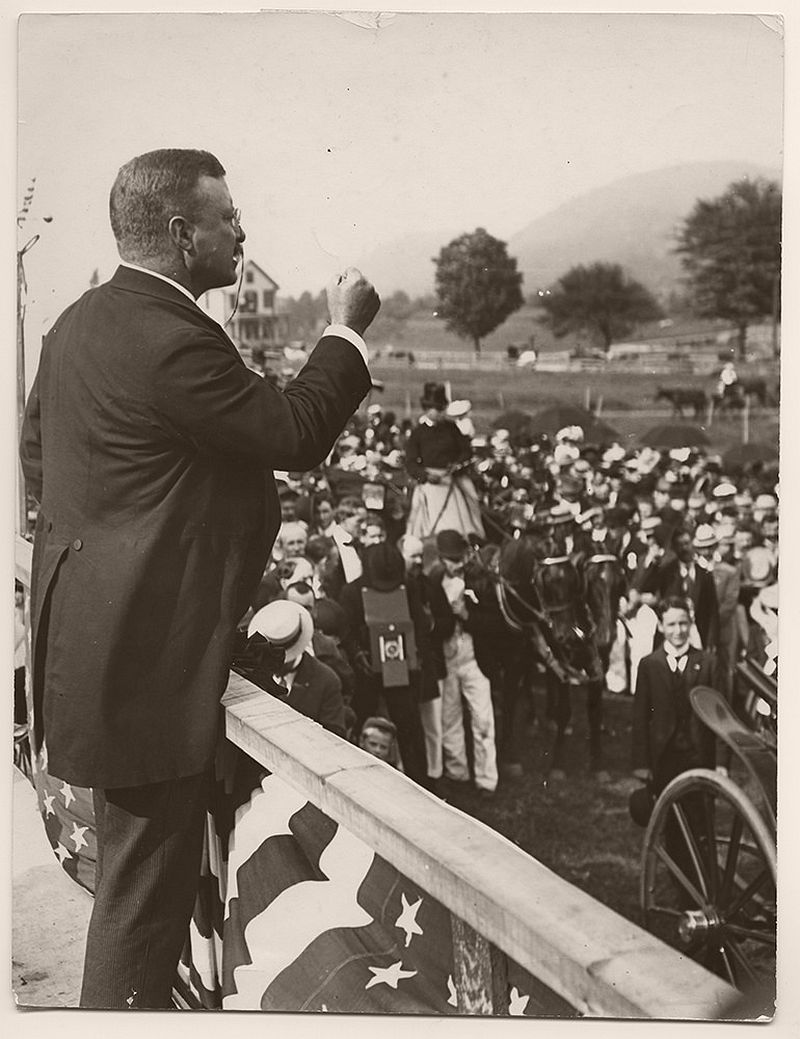 President Theodore Roosevelt delivering a speech in Bellows Falls, Vermont. September 1, 1902. In the Summer of 1902, President Theodore Roosevelt delivered speeches while on a tour through New England.