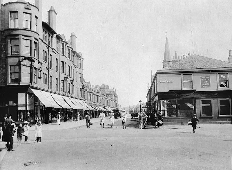 Photograph showing Ayr Street, Troon on the corner to West Portland Street, c.1910.