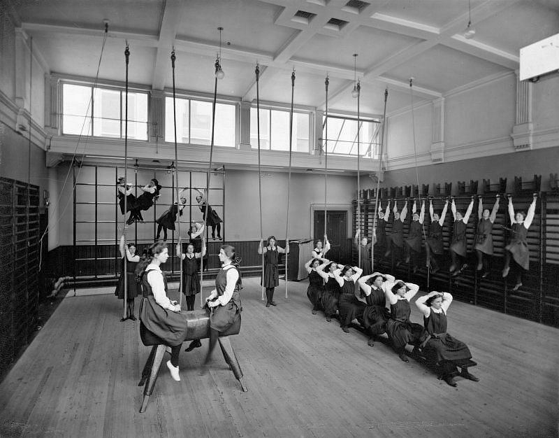 Female pupils in the Gymnasium of unidentified school run by the Edinburgh Merchant Company, c. 1900.