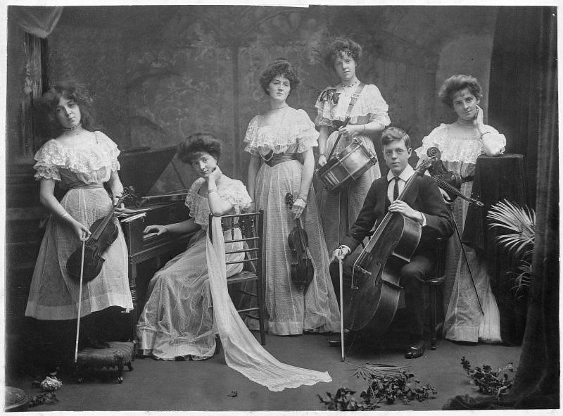 Members of the Mather family with instruments, c.1910.