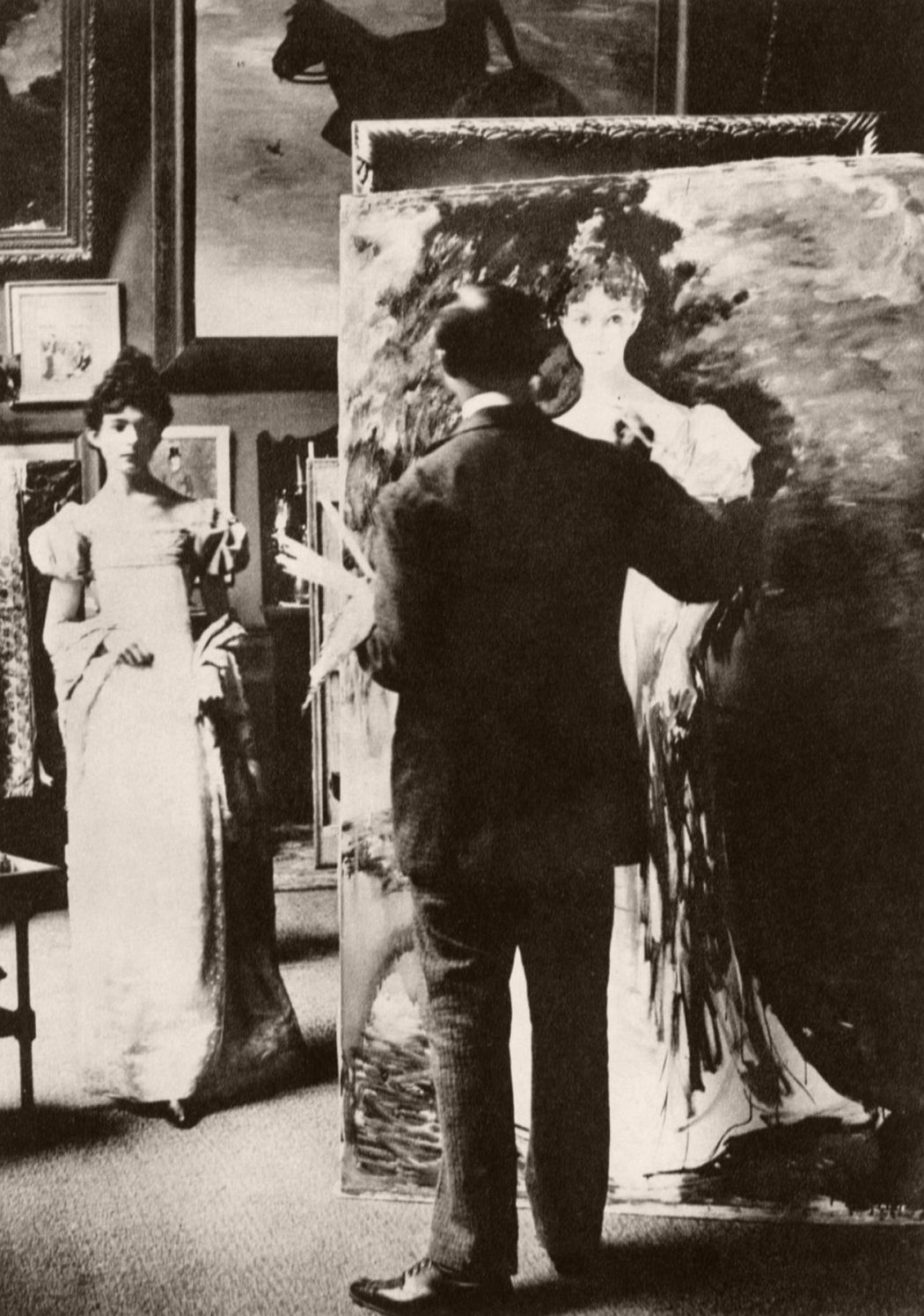 J.E. Blanche painting in his studio