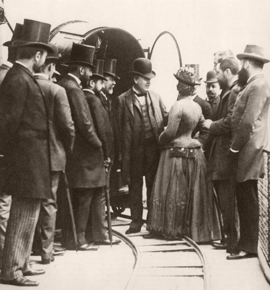 T.A. Edison and entourage at the Eiffel tower, 1889. Photo by Giuseppe Primoli