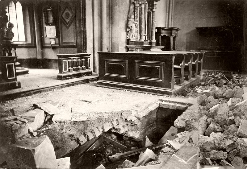As a part of a series documenting the destruction caused by the 1880 Zagreb earthquake, Standl photographed the damaged interior of the Zagreb Cathedral.