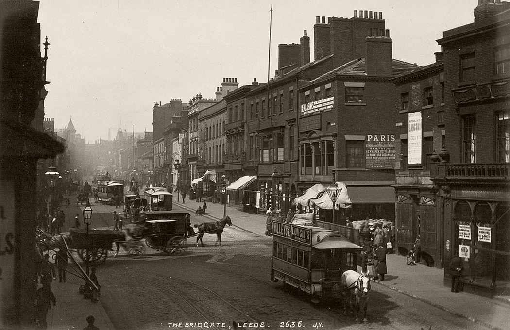 The Briggate, Leeds, 1880s.