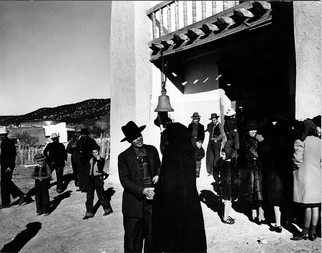 Congregation leaving after mass, San José de Gracia, Trampas, New Mexico, 1943