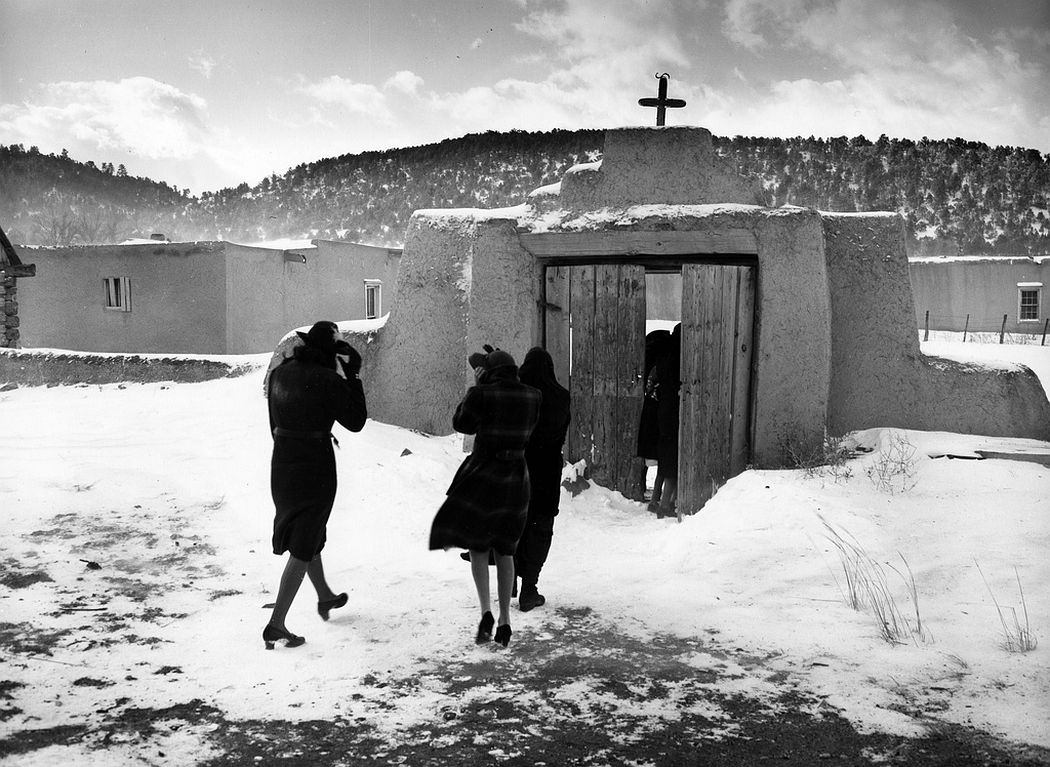 Congregation leaving after mass, Trampas, New Mexico, 1943